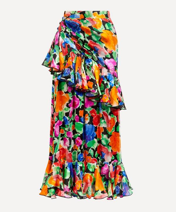 Designer Vintage - Lancetti '70s Couture Floral Silk Chiffon and Satin Skirt