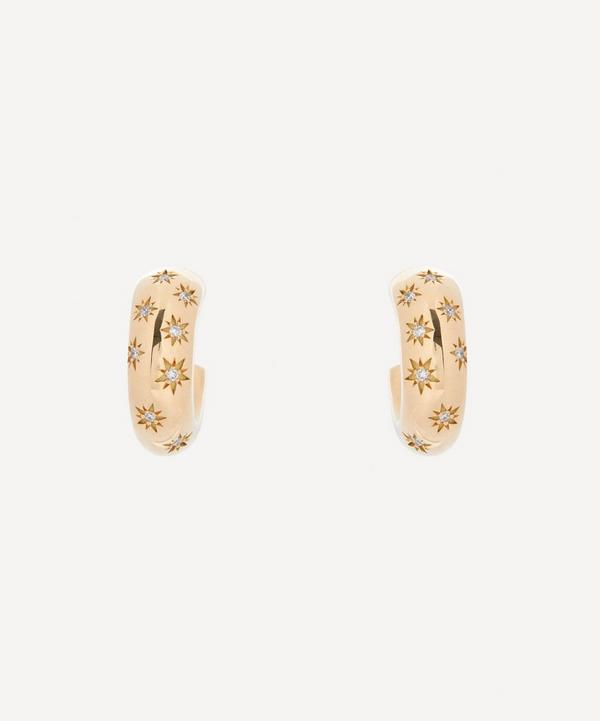 Liberty - 9ct Gold Handmade Ianthe Star Diamond Hoop Earrings