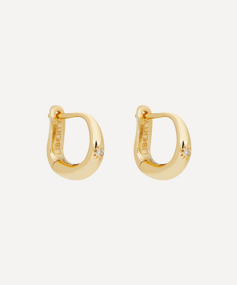 Liberty - 9ct Gold Handmade Ianthe Star Single Diamond Huggie Hoop Earrings