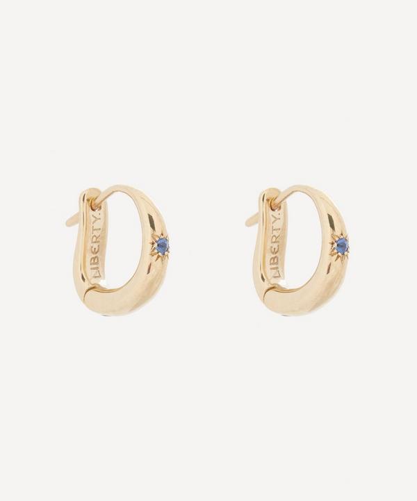 Liberty - 9ct Gold Handmade Ianthe Star Single Blue Sapphire Huggie Hoop Earrings