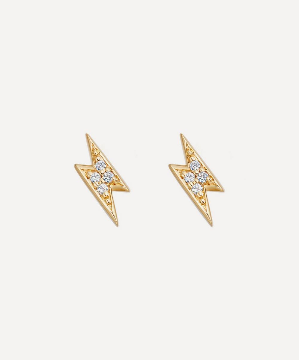 Astley Clarke - Gold Plated Vermeil Silver Tiny Lightning Bolt White Sapphire Stud Earrings