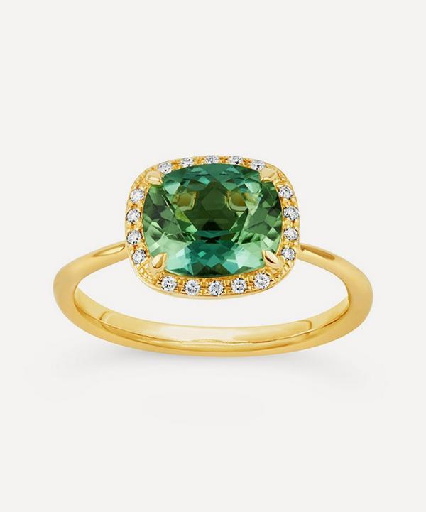 Dinny Hall - Gold Sheba Cushion Green Tourmaline and Diamond Ring