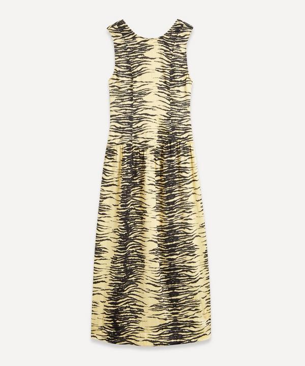 Ganni - Tiger Print Crinkle Satin Dress