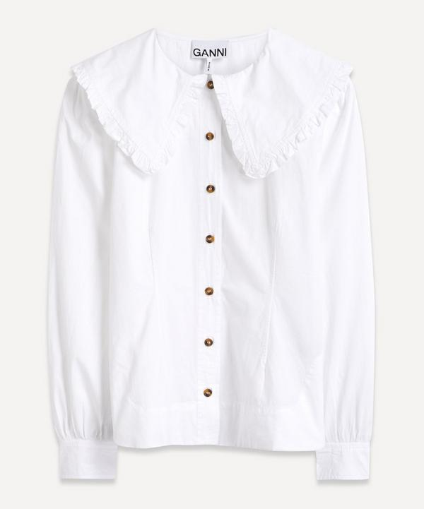 Ganni - Big Collar Fitted Cotton Shirt