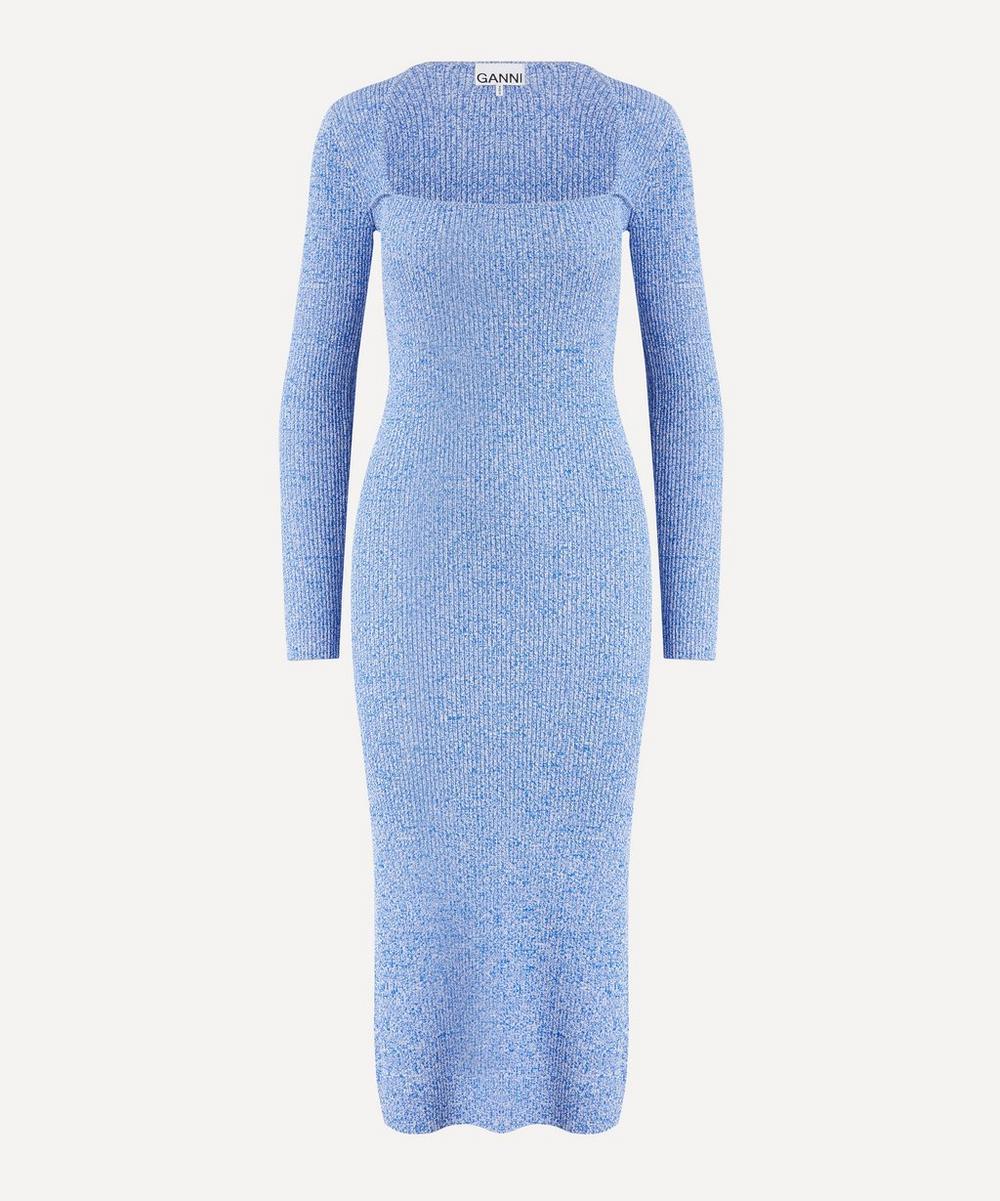 Ganni - Long-Sleeve Melange Knit Dress