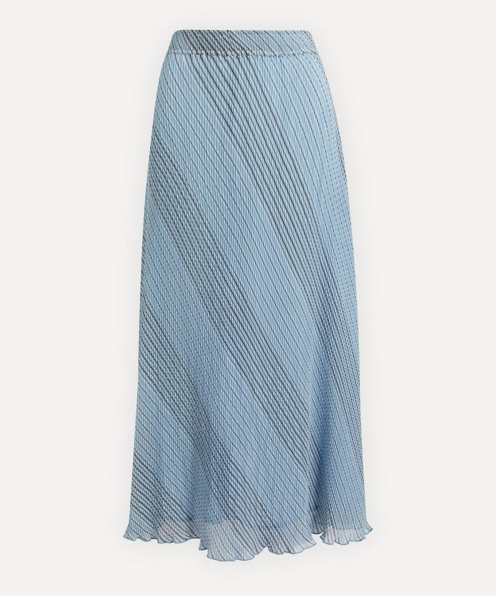 Ganni - Pleated Stripe Georgette Skirt