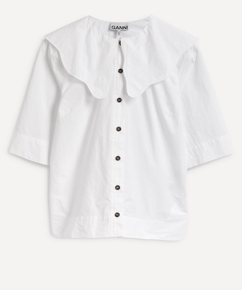 Ganni - Scallop Collar Cotton Shirt