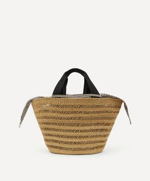 Abby Holes Woven Straw and Cotton Basket Tote Bag