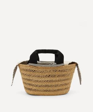 George Holes Woven Straw and Cotton Basket Tote Bag