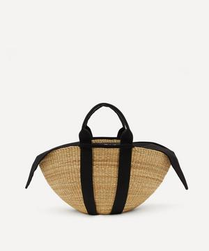 Sophie Woven Straw and Cotton Basket Tote Bag