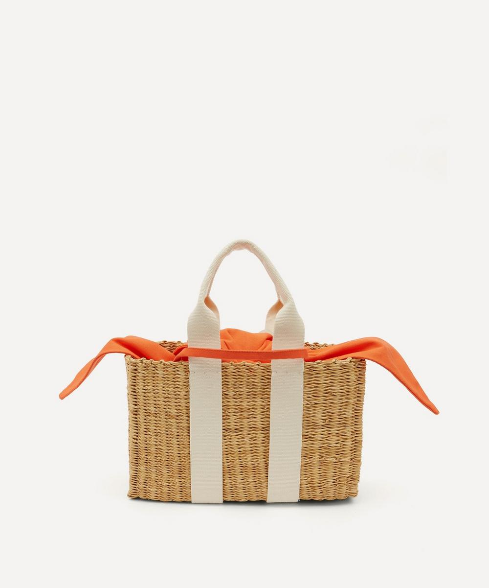 Muuñ - Dina Woven Straw and Cotton Basket Tote Bag