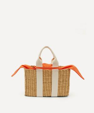 Dina Woven Straw and Cotton Basket Tote Bag