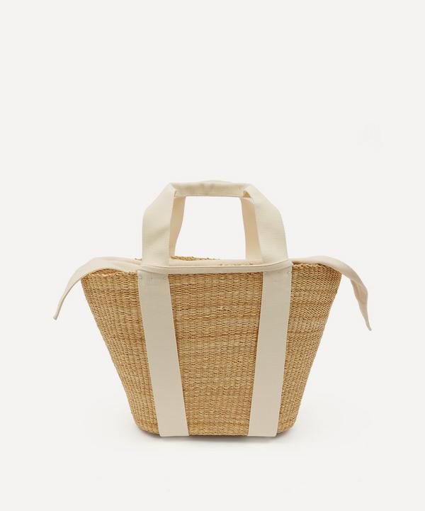 Muuñ - Abby Woven Straw and Cotton Basket Tote Bag