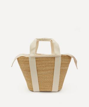 Abby Woven Straw and Cotton Basket Tote Bag