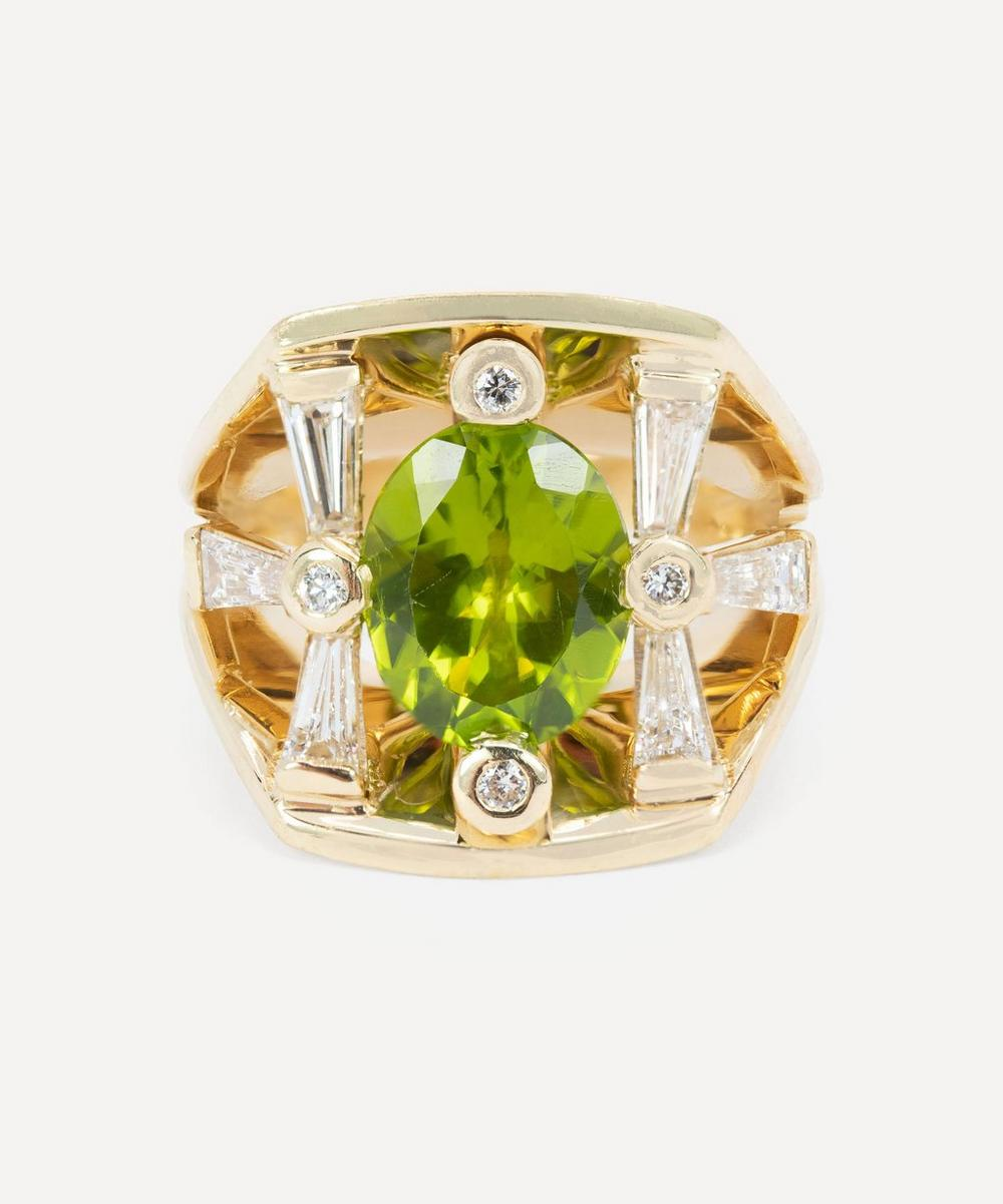 Kojis - 14ct Gold Peridot and Diamond Cocktail Ring