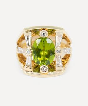 14ct Gold Peridot and Diamond Cocktail Ring