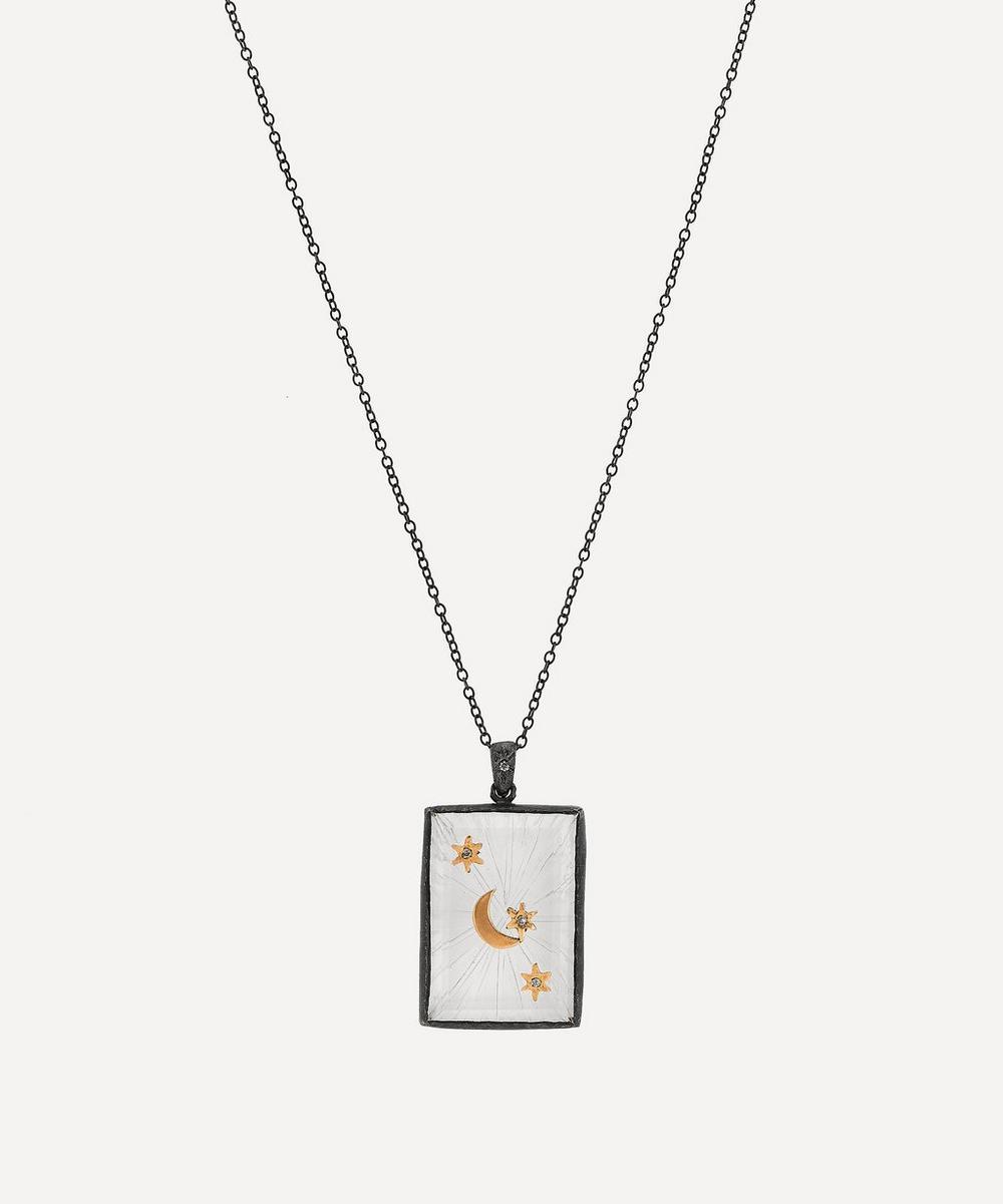 Acanthus - Oxidised Silver Crescent Star Quartz Tag Amulet Necklace