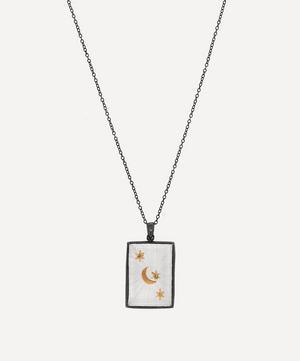 Oxidised Silver Crescent Star Quartz Tag Amulet Necklace