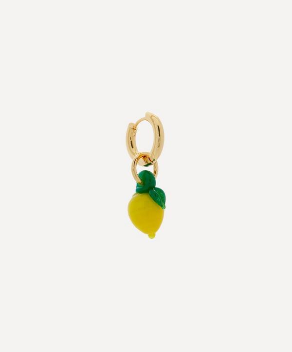 Sandralexandra - Gold-Plated Lemon Single Hoop Earring