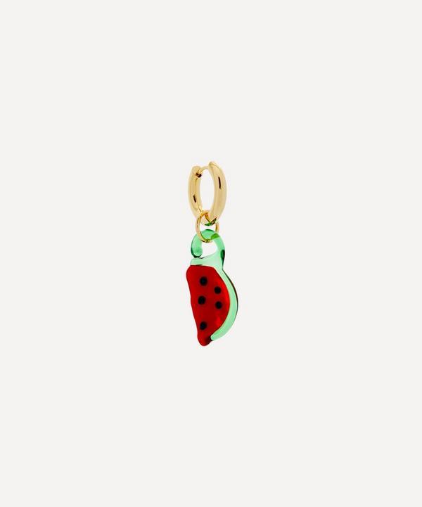 Sandralexandra - Gold-Plated Watermelon Single Hoop Earring