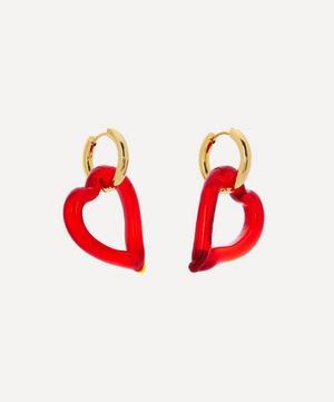 Gold-Plated Heart of Glass Hoop Earrings