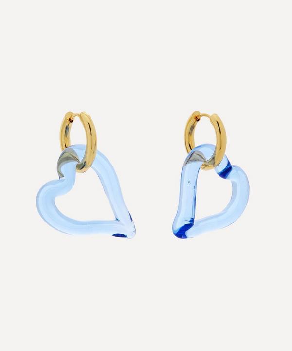 Sandralexandra - Gold-Plated Heart of Glass Hoop Earrings