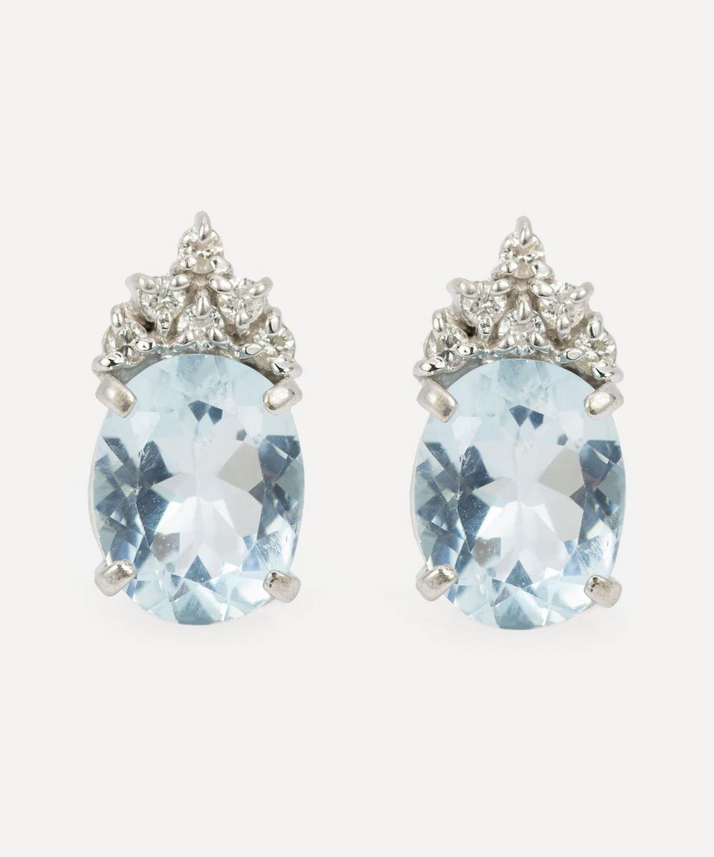 Kojis - 14ct White Gold Aquamarine and Diamond Earrings