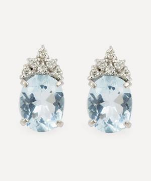 14ct White Gold Aquamarine and Diamond Earrings
