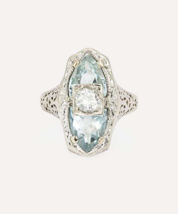 Kojis - Gold Art Deco Aquamarine and Diamond Ring