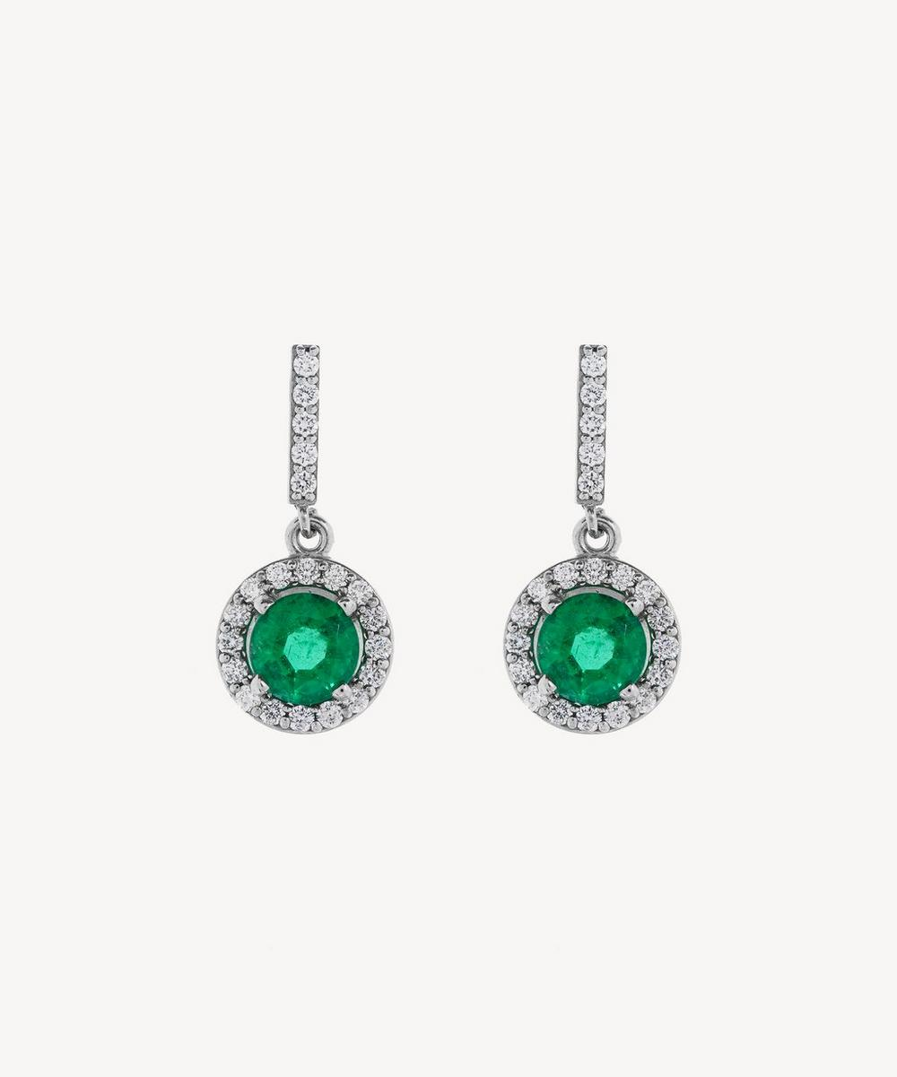 Kojis - Platinum Emerald and Diamond Drop Earrings