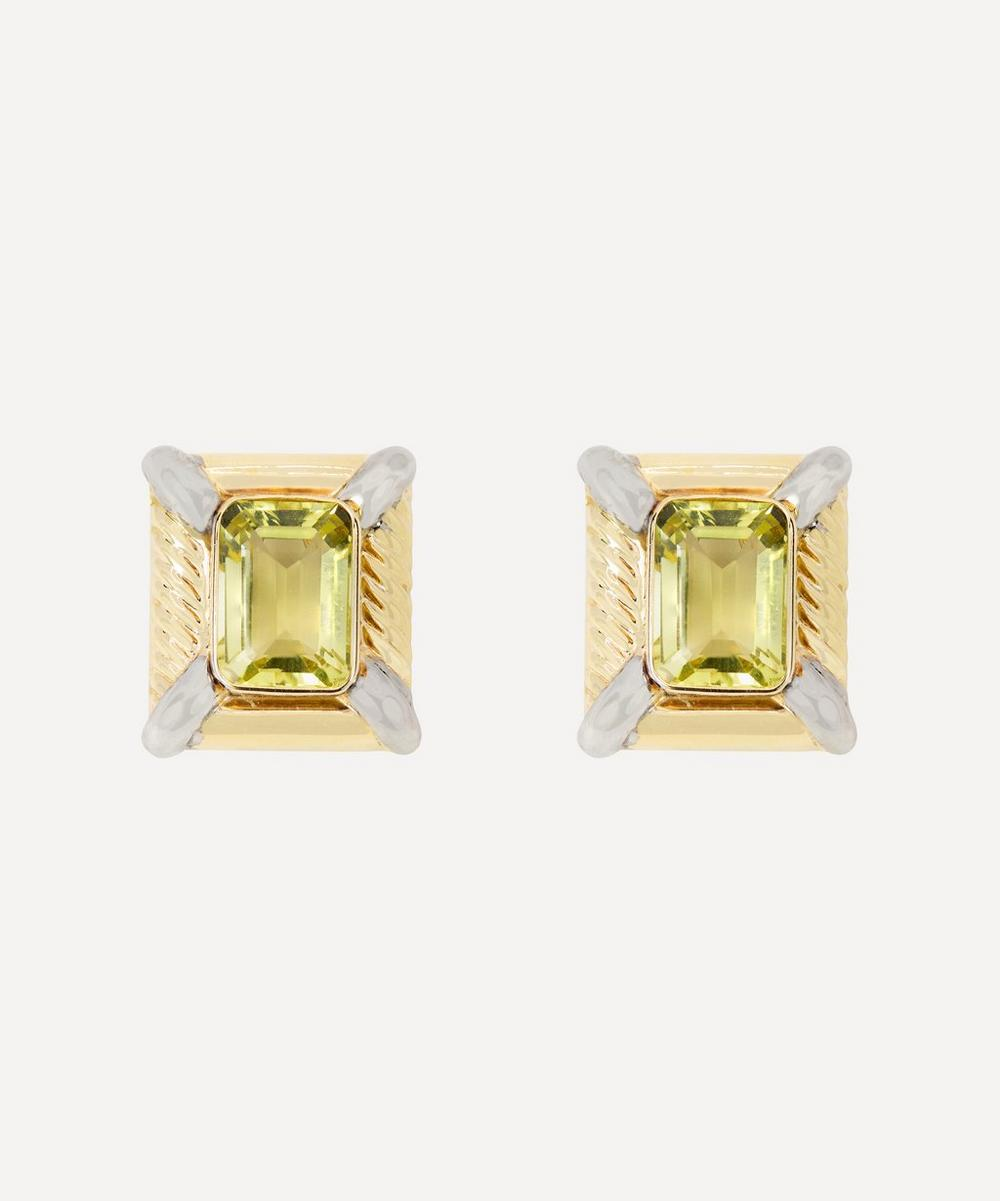 Kojis - 14ct Gold 1980s Large Citrine Clip-On Earrings