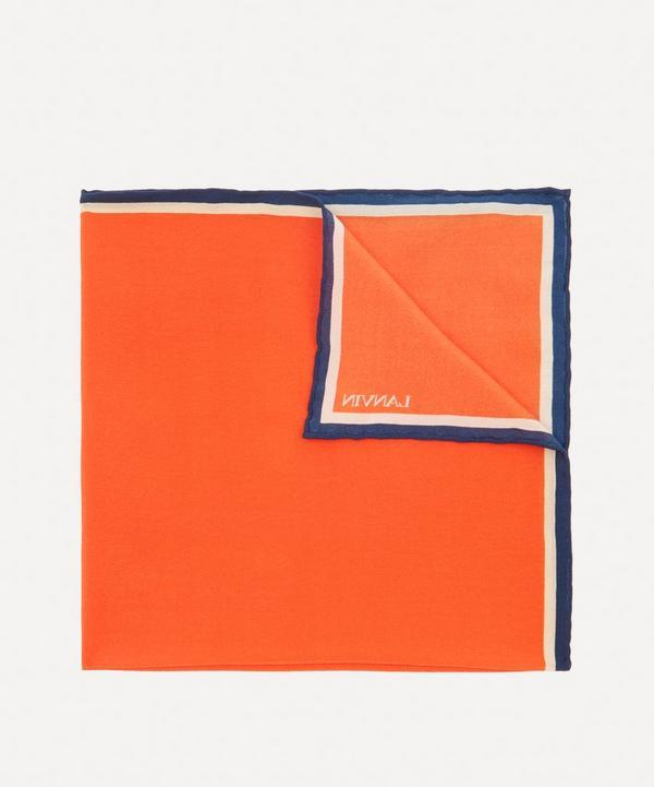 Lanvin - Stripe Trim Silk Pocket Square