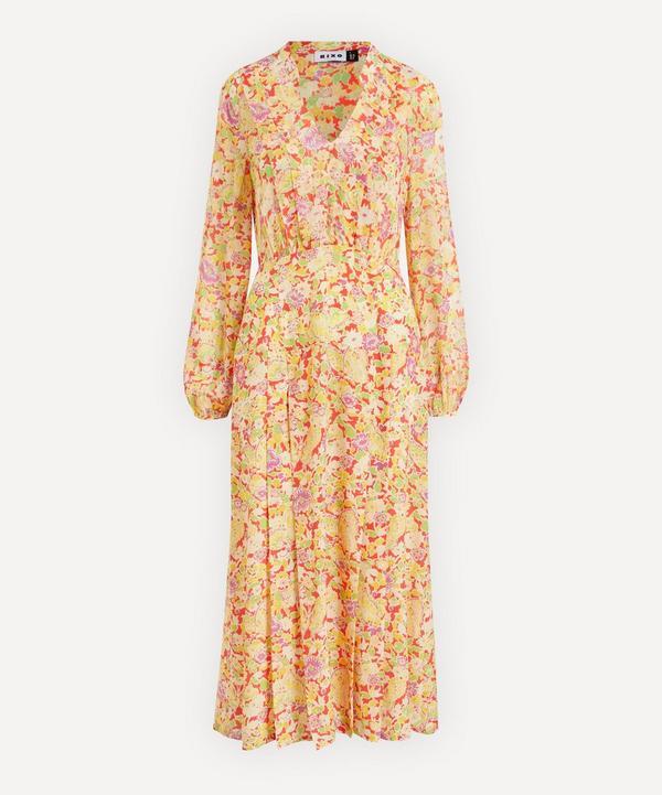 RIXO - Autumn Silk Midi-Dress