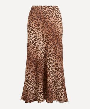 Kelly Leopard Print Silk-Mix Skirt