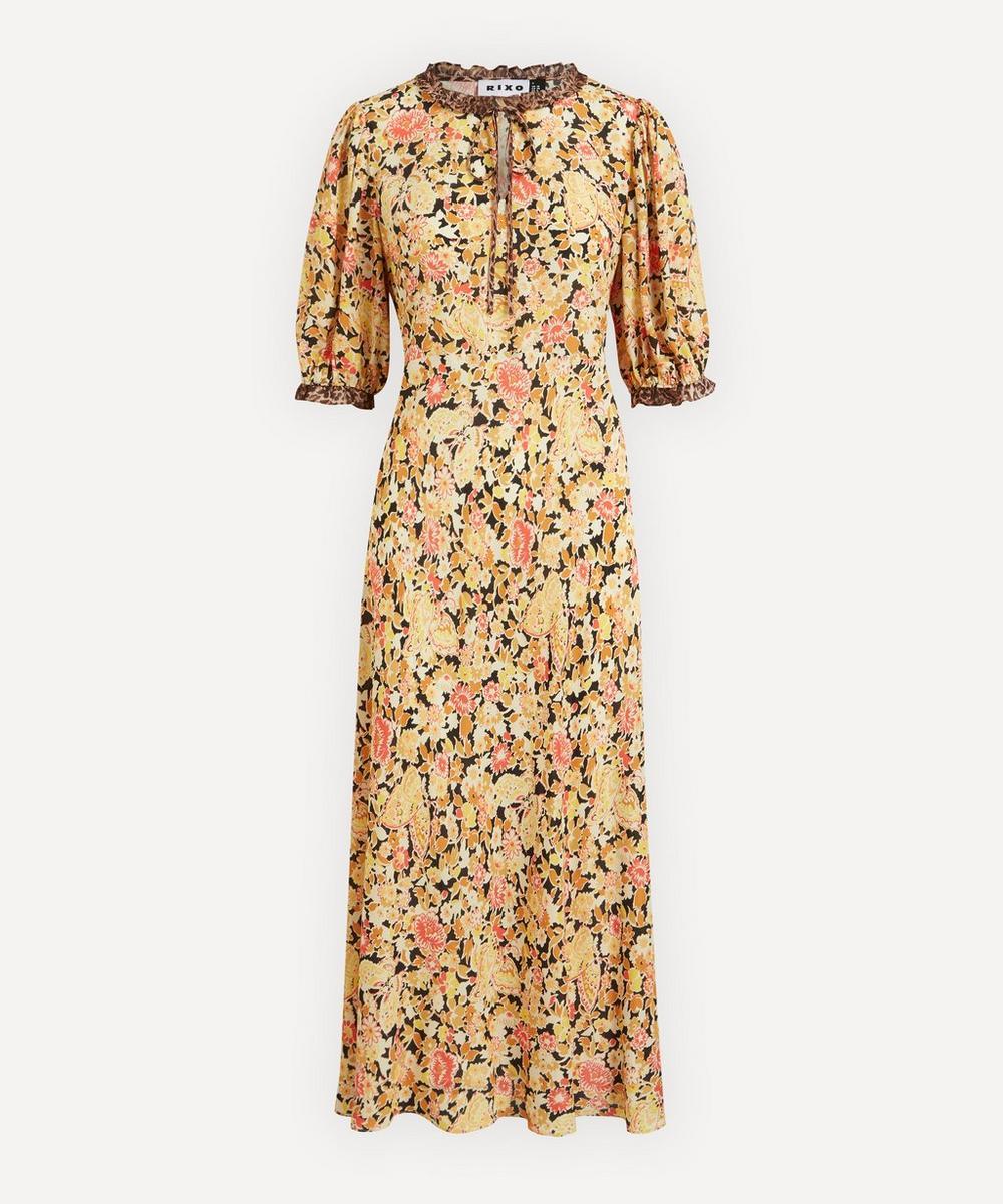 RIXO - Hanna Leopard Trim Midi-Dress