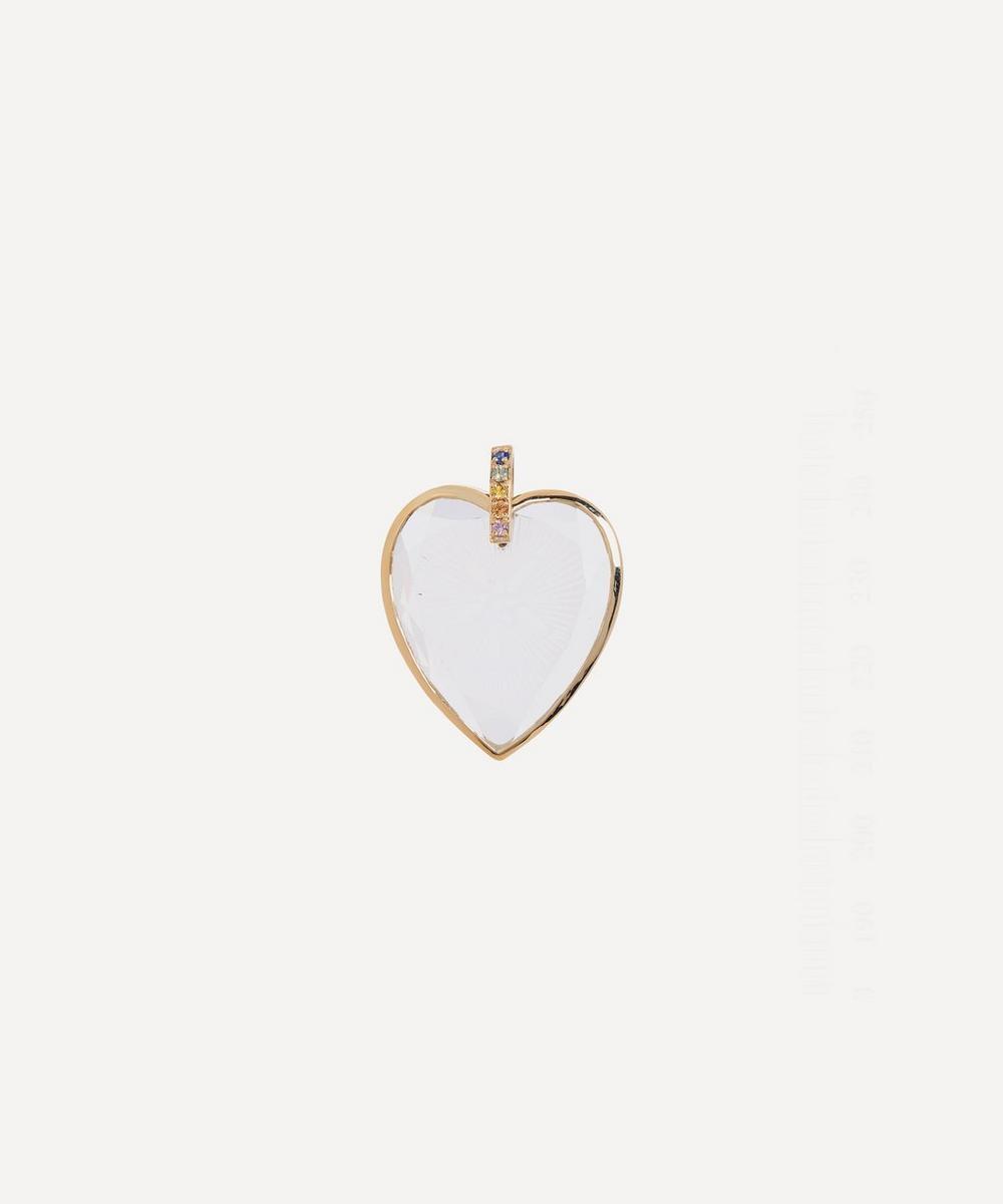 Pascale Monvoisin - 9ct Gold Gabin Engraved Crystal and Rainbow Sapphire Pendant