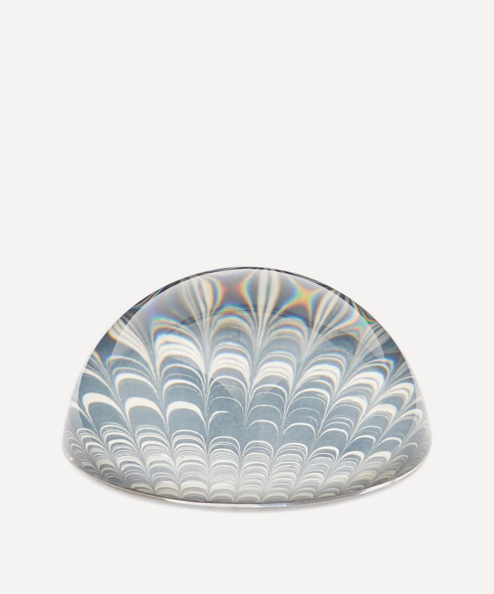 Inq - Navy Comb Marbled Paperweight Small