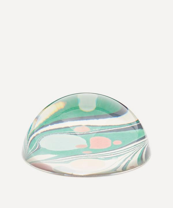 Inq - Green Zebra Marbled Paperweight Large
