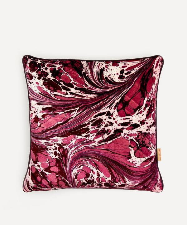 Susi Bellamy - Mulberry Fantasy Marbled Velvet Square Cushion