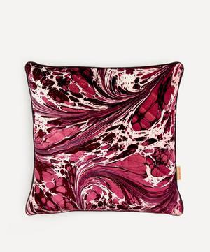 Mulberry Fantasy Marbled Velvet Square Cushion