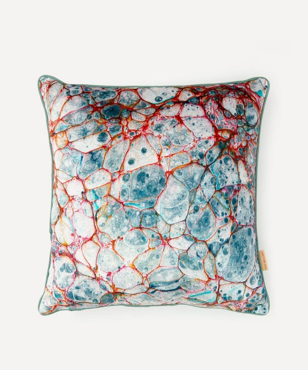 Susi Bellamy - Pietra Grigia Blu Marbled Velvet Square Cushion