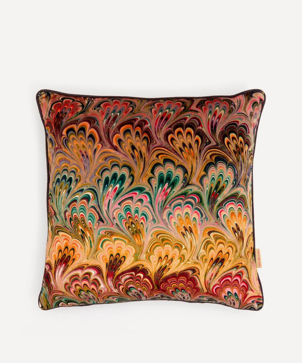 Susi Bellamy - Peacock Bouquet Marbled Velvet Square Cushion