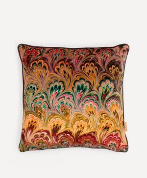 Peacock Bouquet Marbled Velvet Square Cushion