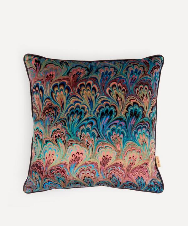 Susi Bellamy - Teal Bouquet Marbled Velvet Square Cushion
