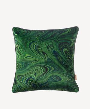 Malachite Marbled Velvet Square Cushion