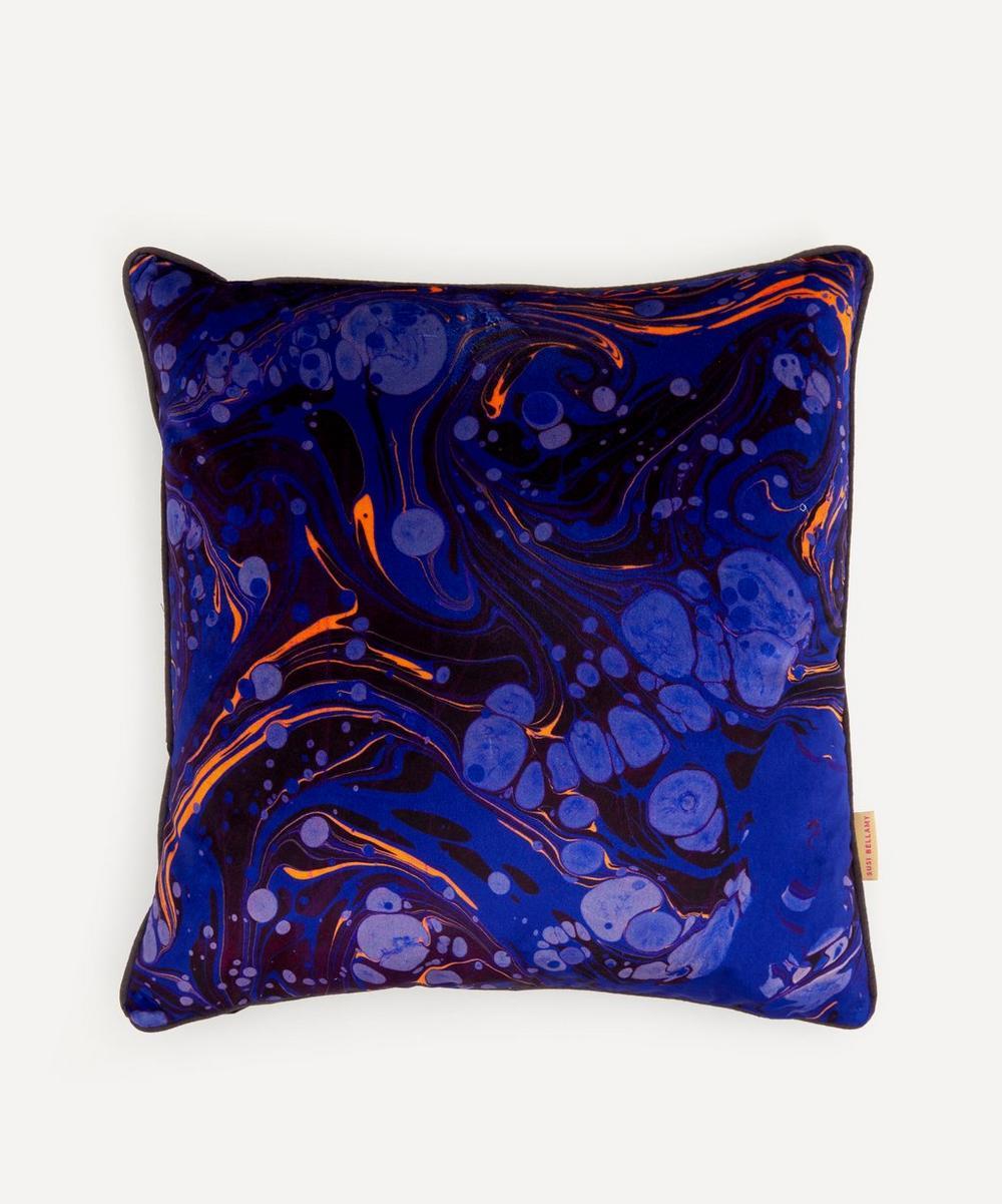 Susi Bellamy - Sapphire Marbled Velvet Square Cushion