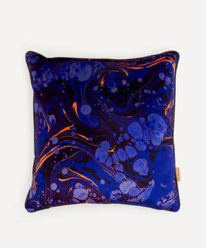 Sapphire Marbled Velvet Square Cushion
