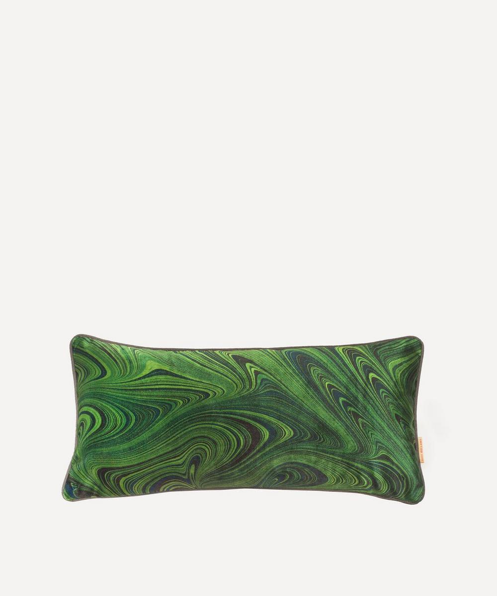 Susi Bellamy - Malachite Marbled Velvet Oblong Cushion