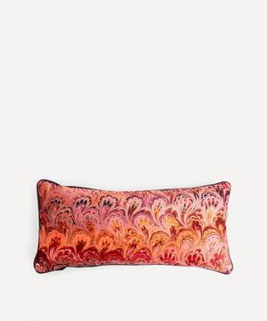 Blush Bouquet Marbled Velvet Oblong Cushion