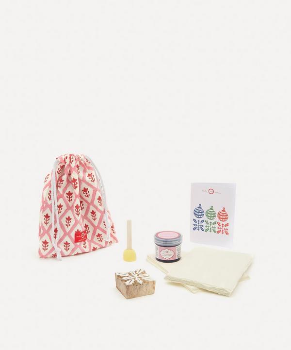 Molly Mahon - Christmas Card Block Print Kit Holly Indigo